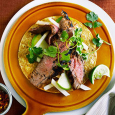 Achiote Flank Steak with Apple and Jicama Slaw